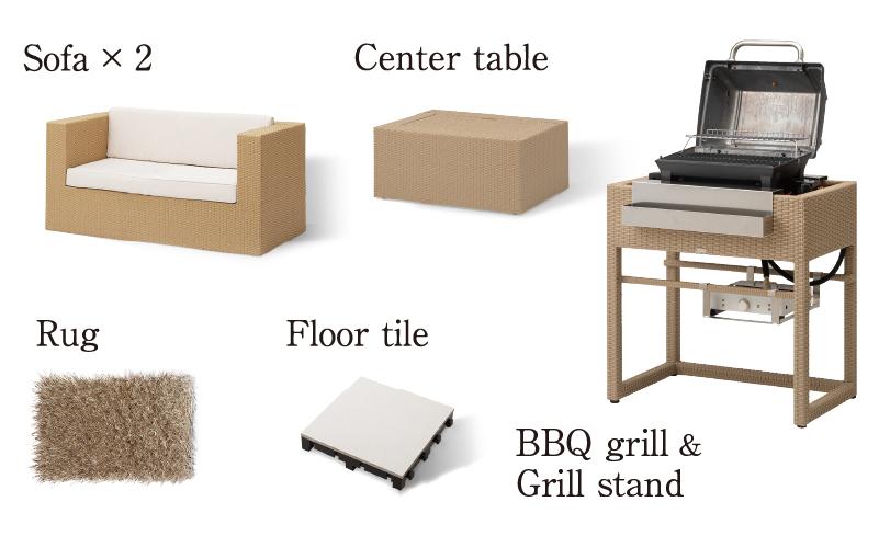 ソファー×2、センターテーブル、グリルスタンド、 BBQグリル、フロアータイル、ラグ